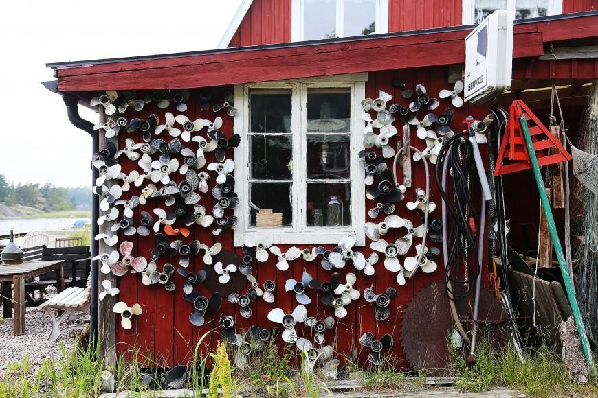 Propellervägg vid varv på Norra Stavsudda, Stockholms mellersta skärgård