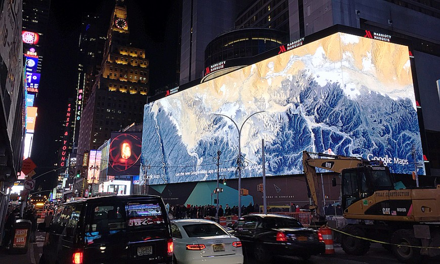 Jätteskärmen vid Times Square. Foto: Erik Bergin