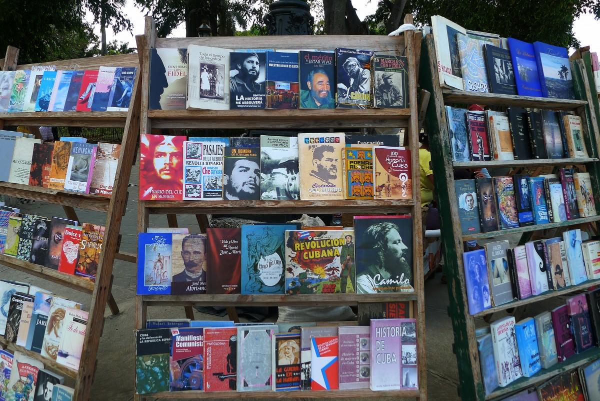 Revolutionslitteratur till salu vid Plaza del Armas i Havannas gamla stan. Foto: Erik Bergin
