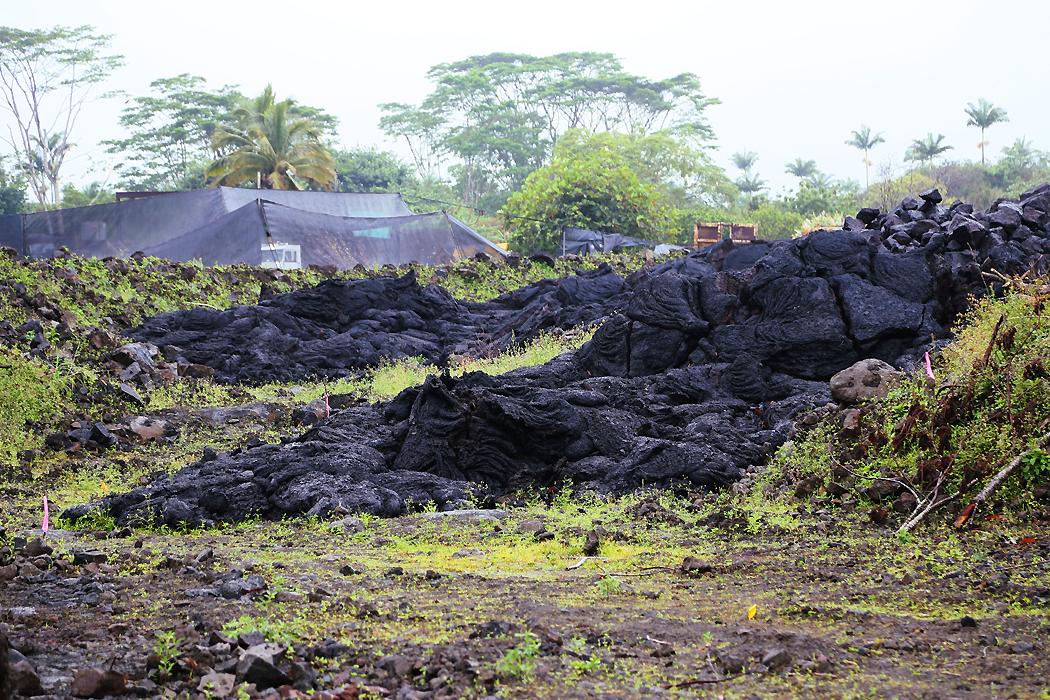Ett av boningshusen i Pahoa fick den framströmmande lavan in på villatomten.