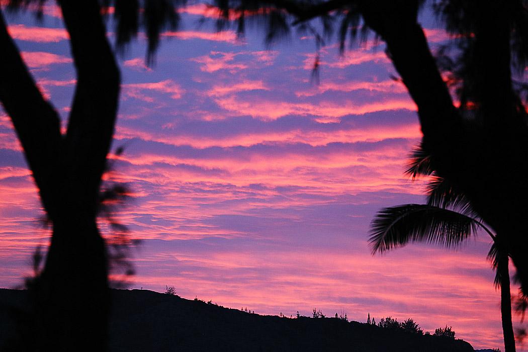 Solnedgång över Kauai.