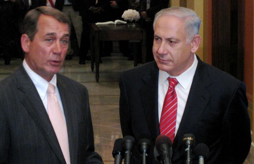 Israels presmiärminister Benjamin Netanyahu, höger, tillsammans med talmannen i USA:s kongress, John Boehner (R). Foto: Talk Radio News Service/Flickr