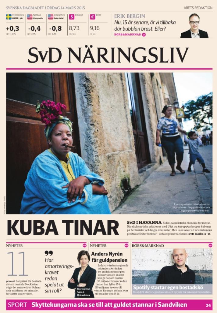 Näringslivs förstasida lördagen den 14 mars 2015.