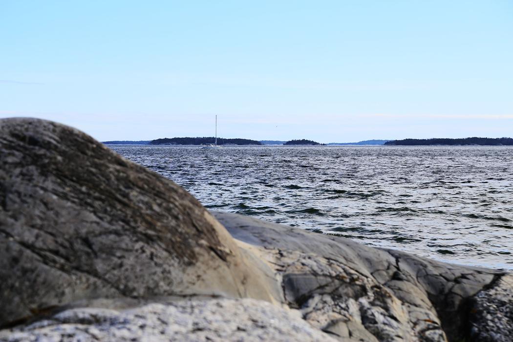 Björkvik längst ut på Ingarö den 26 april. Dykarna är här som vanligt och åtminstone ett segel gick att skymta ute till havs.
