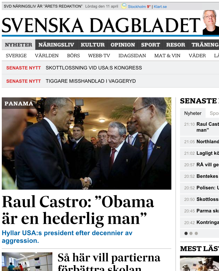 Toppnyheten på SvD.se på lördagen den 11 april 2015.