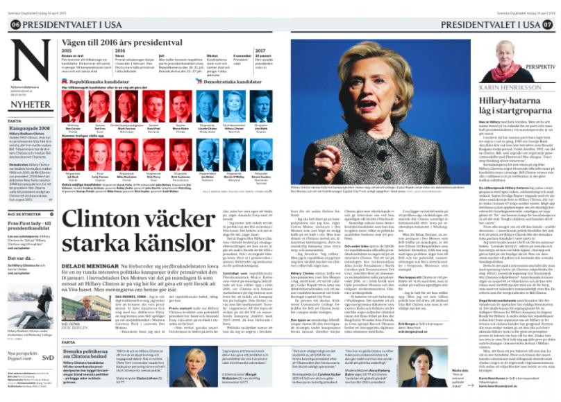 Ett till uppslag Clinton i tisdagstidningen.