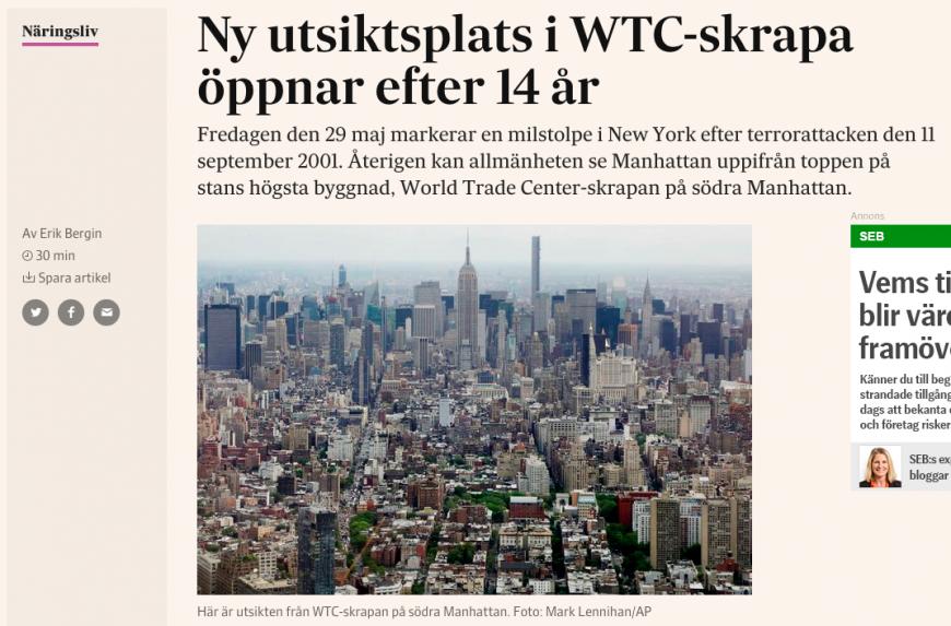 Artikeln om nya WTC-skrapan i New York.