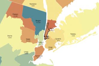 Utsnitt ur New York Times karta om var i USA barn har bäst chans. Foto: NYT.com