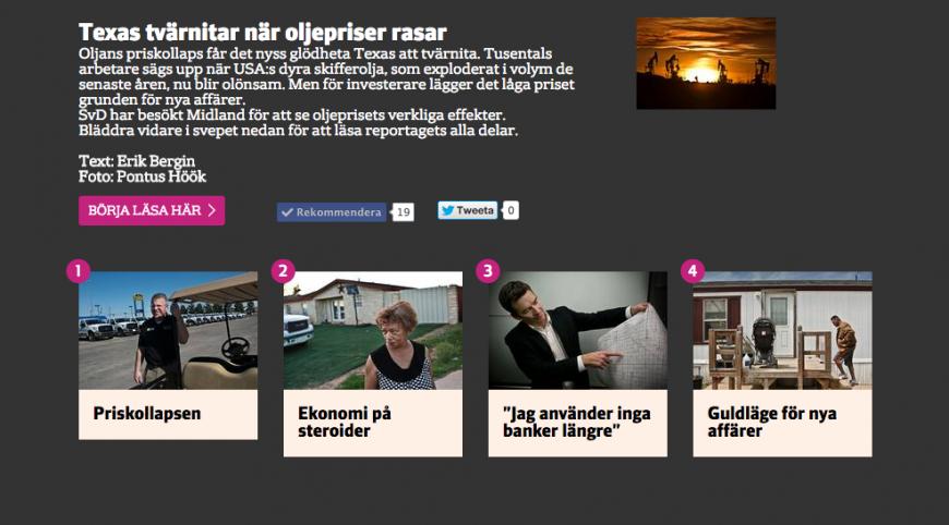 Reportaget i fyra delar på webben.
