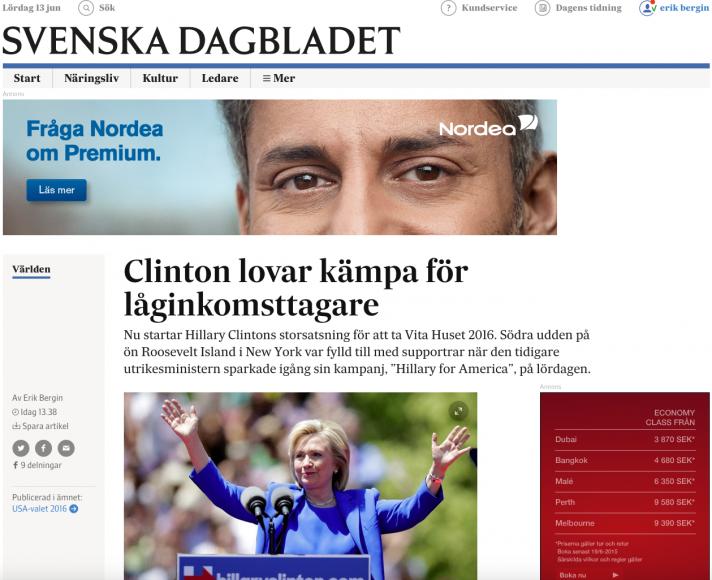 Artikeln på SvD.se på lördagen.