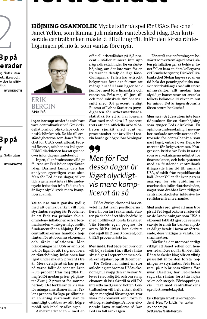 Fed-analysen i tidningen.