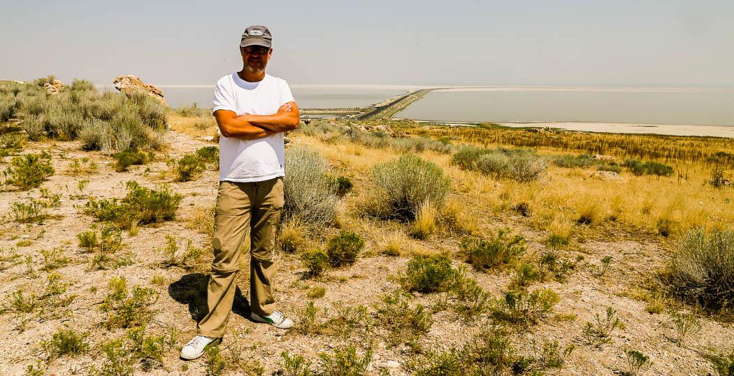 Jag på Antilope Island i The Great Salt Lake, Utah. Foto: Helena Dahlqvist