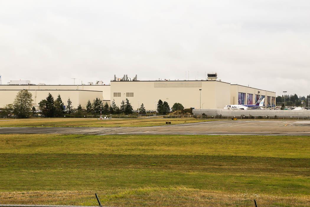 Sammansättningshallen för bland annat 747 och Dreamlinern, 787.