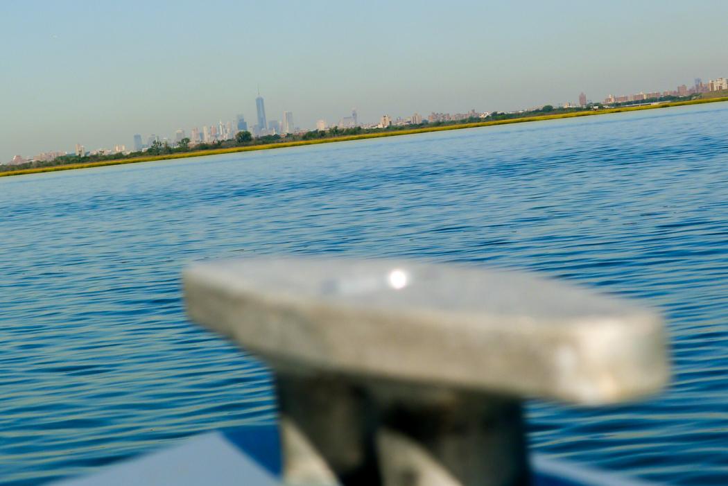 New York City i fjärran bakom knapet.