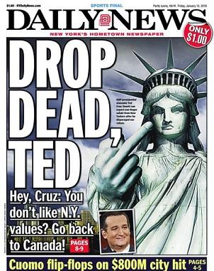 New York Daily News etta fredag den 15 januari 2016.