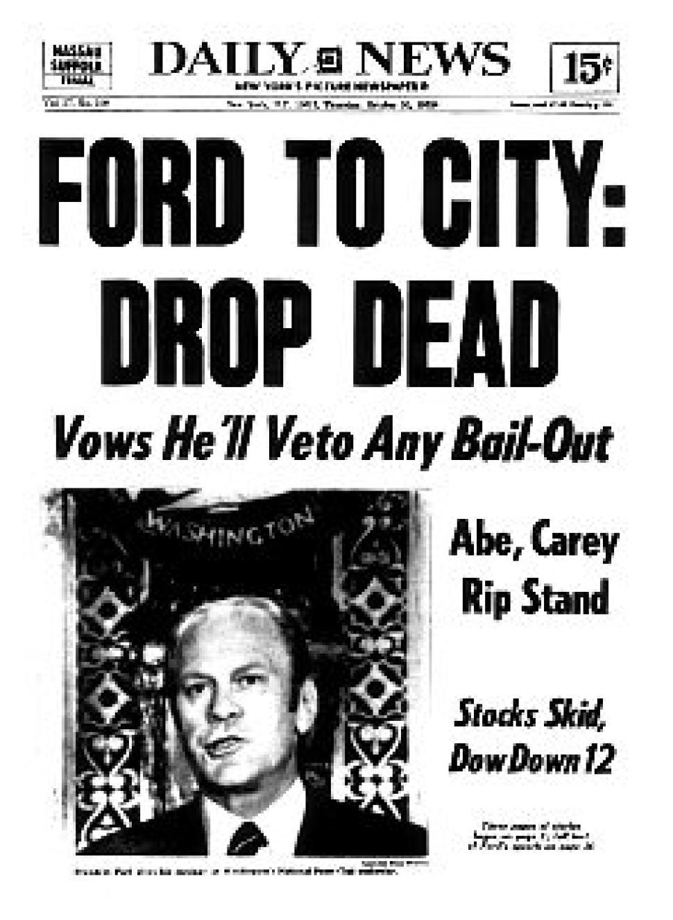 Från 1970-talet: Ett konkursmässigt New York City nobbas av president Ford.