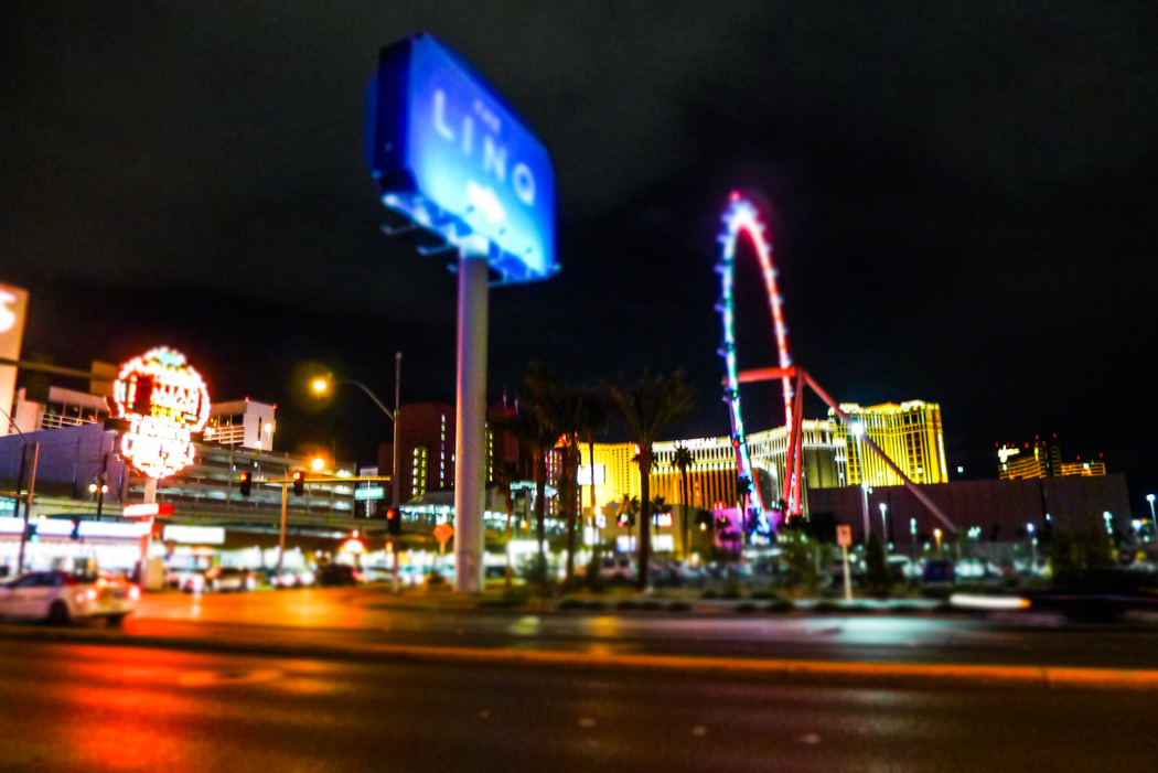 Off-Strip Vegas by night.