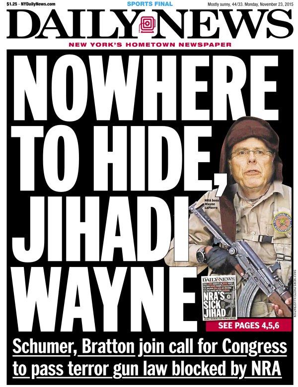 Tidningen utmålar vapenlobbyn NRA:s chef Wayne LaPierre som terrorist.