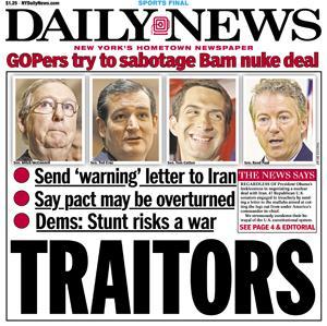 """""""Förrädare"""". Etta efter att republikaner varnat Iran för att underteckna president Obamas kärnkraftsavtal."""