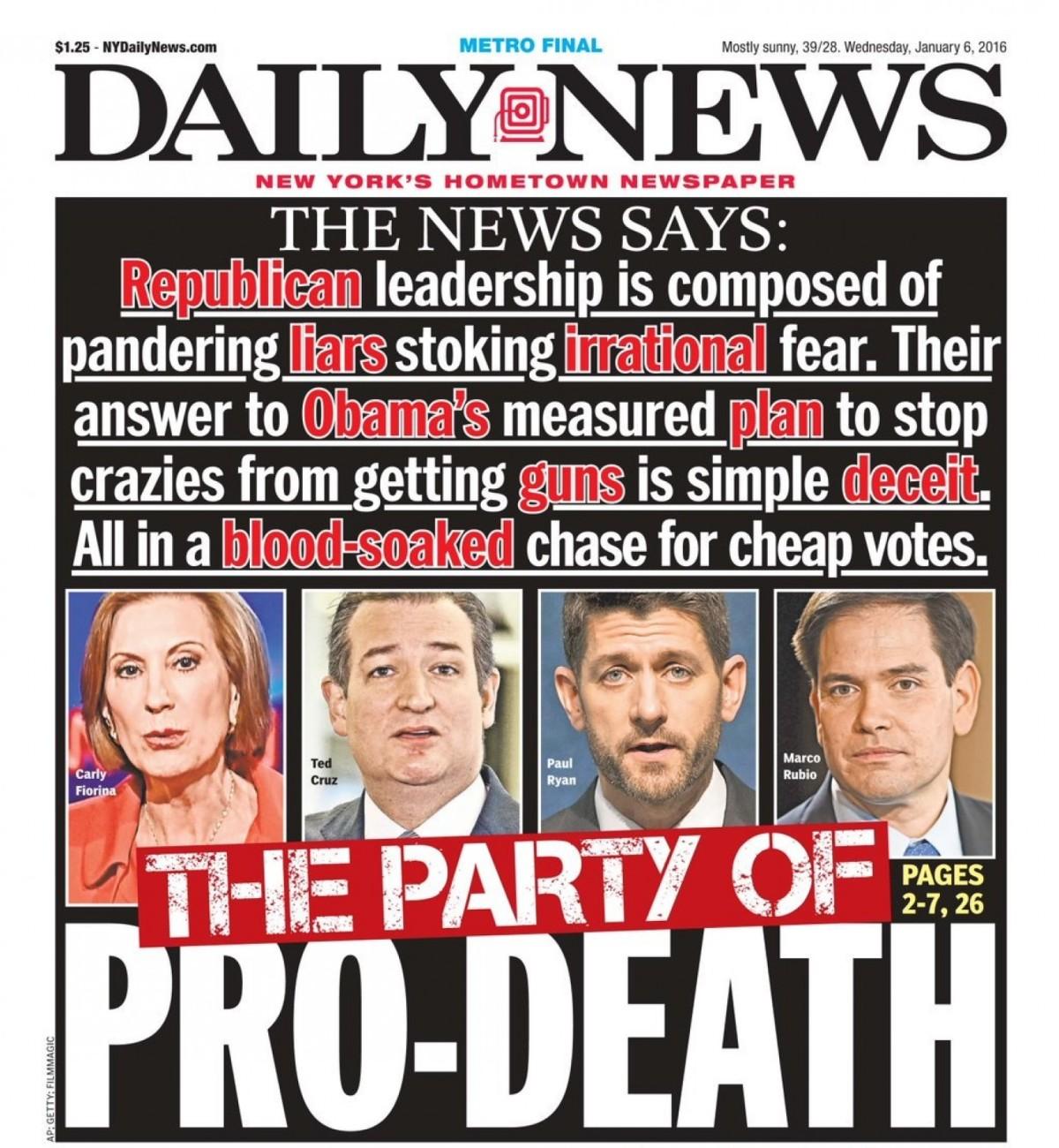 """""""Dödspartiet"""". Republikanska politiker anklagas ge medhjälp till vapenlobbyn."""