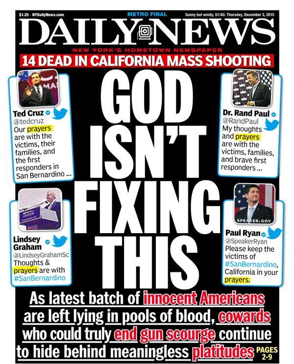 """""""Gud fixar inte det här"""" – tidningen häcklar republikanska politiker som enbart erbjuder böner efter ännu en amerikansk masskjutning."""