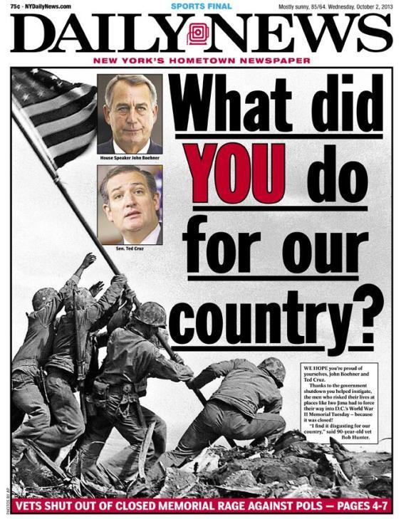 """""""Vad har DU gjort för vårt land?"""" Frågan ställs till republikanerna John Boehner, talman i rep-huset, och Texassenatorn Ted Cruz."""