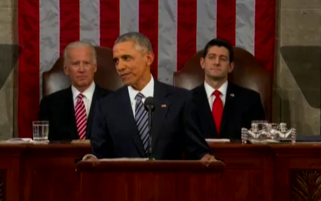 Obama håller sitt sista State of the Union-tal i kongressen.