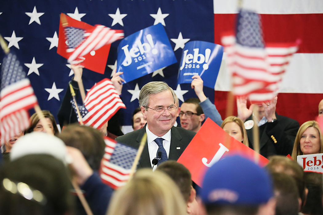 """Jeb Bush konstaterar att han är """"back in the game"""" trots att han riskerar att hamna på fjärde plats när rösträkningen är klar."""
