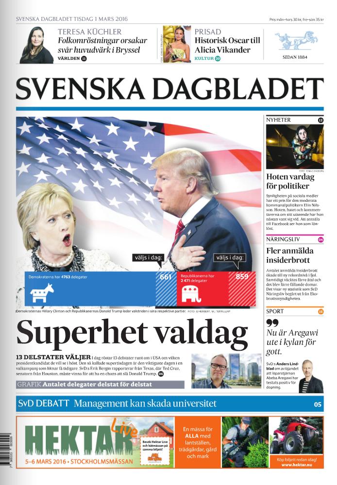 SvD:s förstasidan den 1 mars 2016.