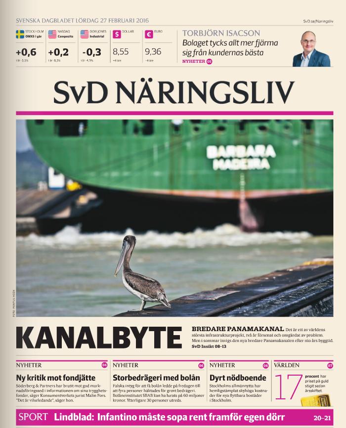 SvD Näringslivs förstasida den 27 februari 2016.
