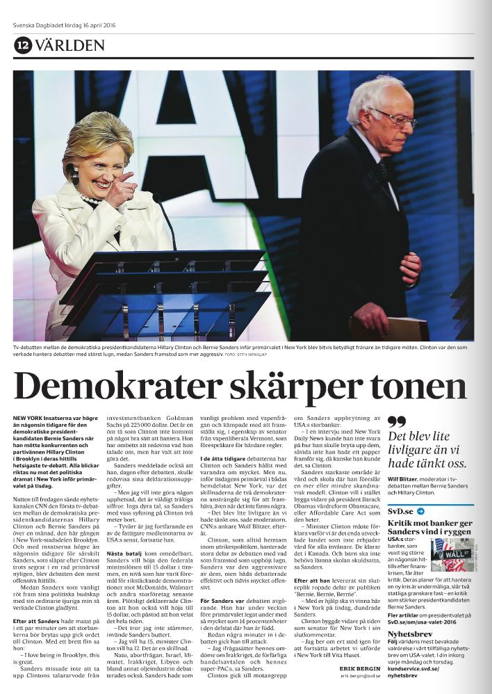 Sidan om tv-debatten i lördagens SvD.