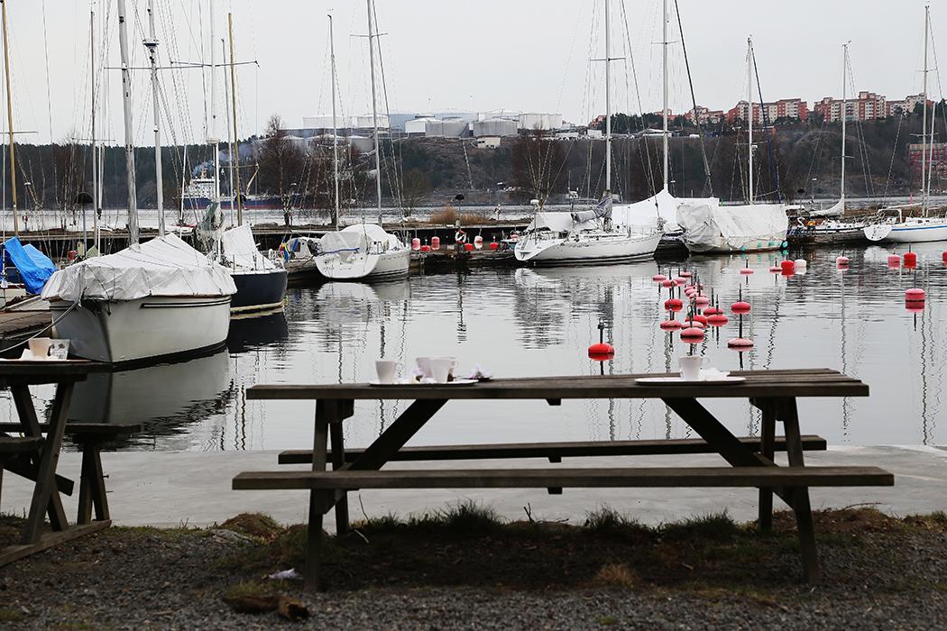 Marinan nedanför kaféet Kruthuset på östra spetsen av Norra Djurgården.