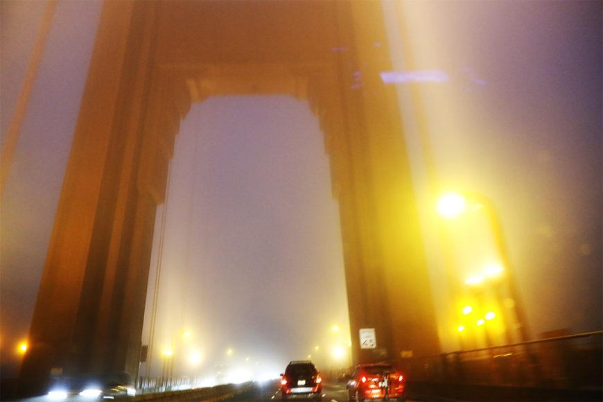 Golden Gate täckt i dimma på väg söderut mot San Francisco. Samtliga bilder: Erik Bergin