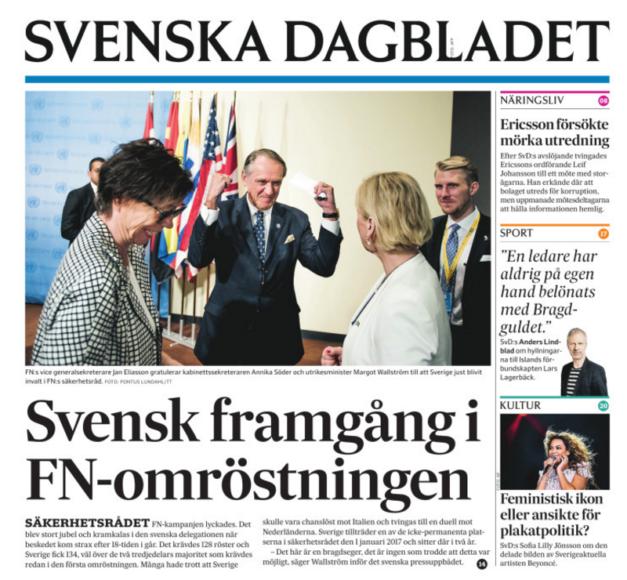 Förstasidan i onsdagens SvD.