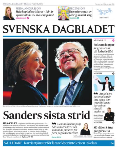 SvD:s förstasida 7 juni.