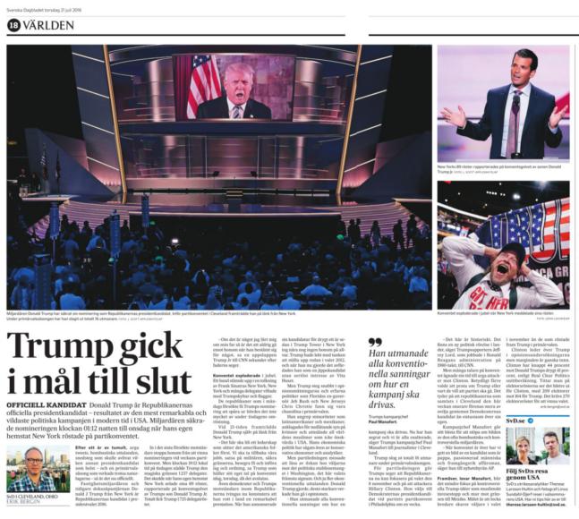 Uppslag i torsdagstidningen om att Trump vunnit nomineringen.