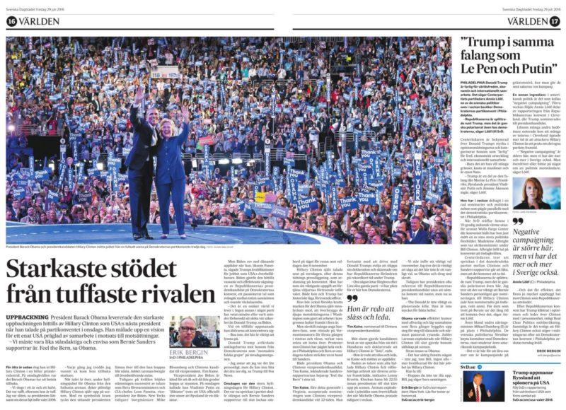 Min rapport i papperstidningen fredag 29/7 om president Obamas hyllning till Hillary Clinton.