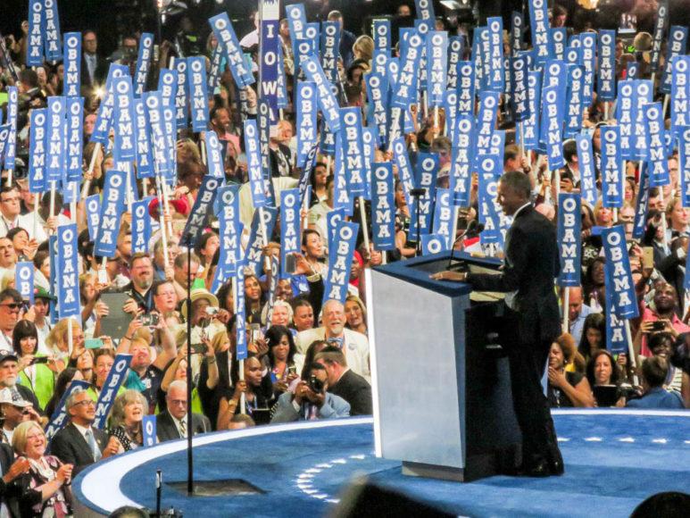 Barack Obama håller sitt tal under konventet i slutet av juli 2016. Inne i Wells Fargo Center där Demokraternas konvent hålls. Foto: Erik Bergin