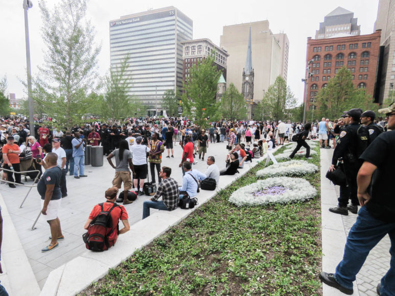 Public Square, Cleveland, under konventsveckan. Demonstrationer pågår vid Public Square, Cleveland, under konventet. Foto: Erik Bergin