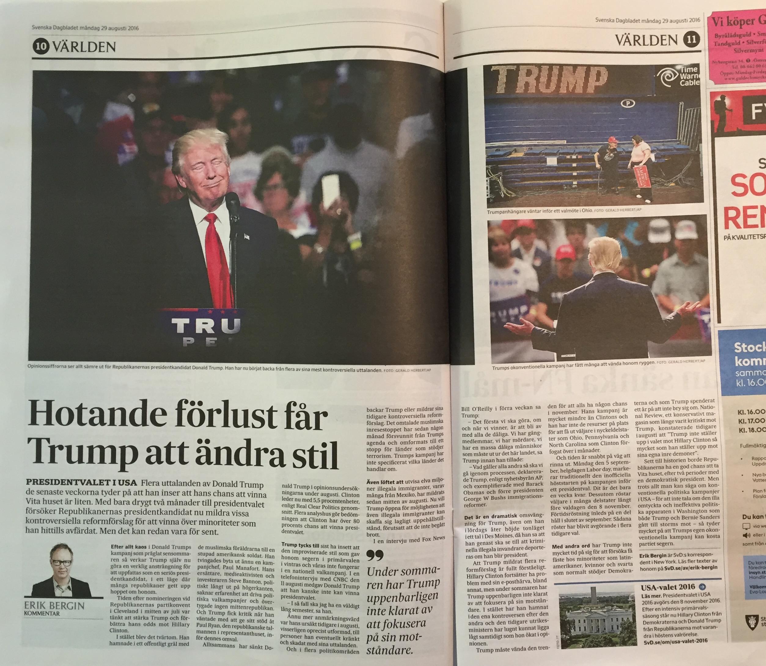 Uppslaget 10-11 i SvD måndag den 29 augusti 2016.