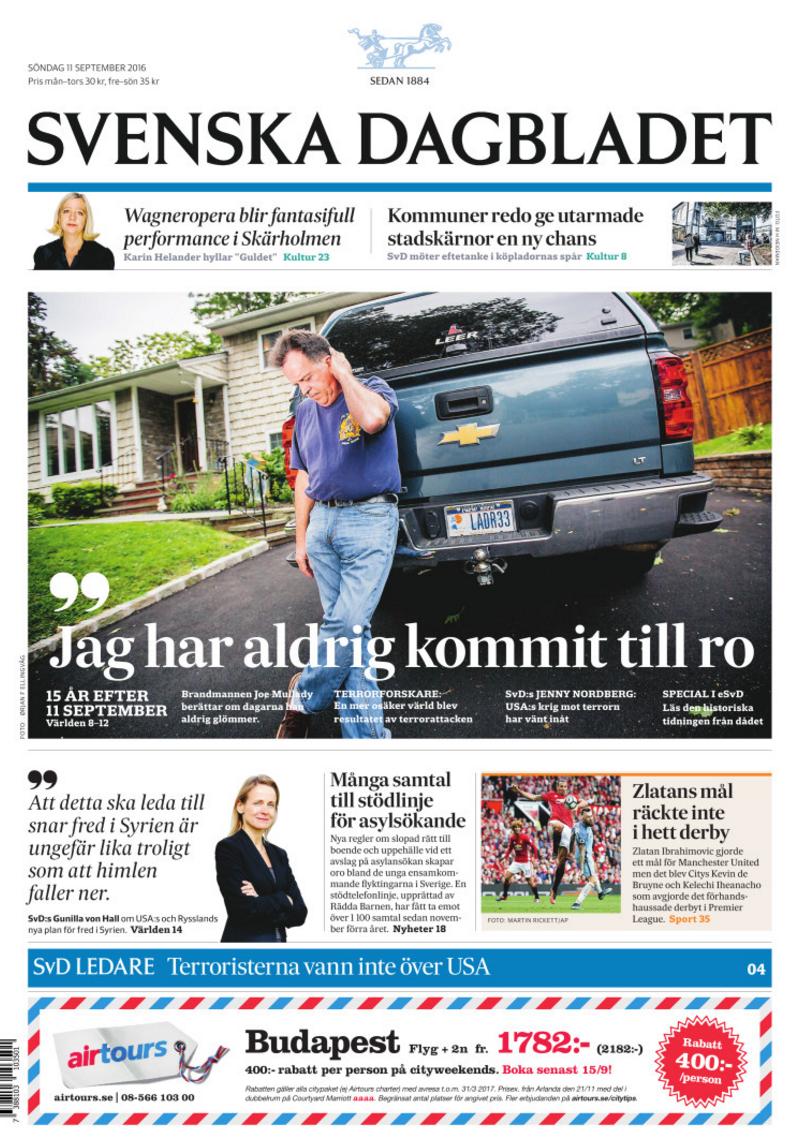 Förstasidan den 11 september 2016. Foto: Ørjan Ellingvag