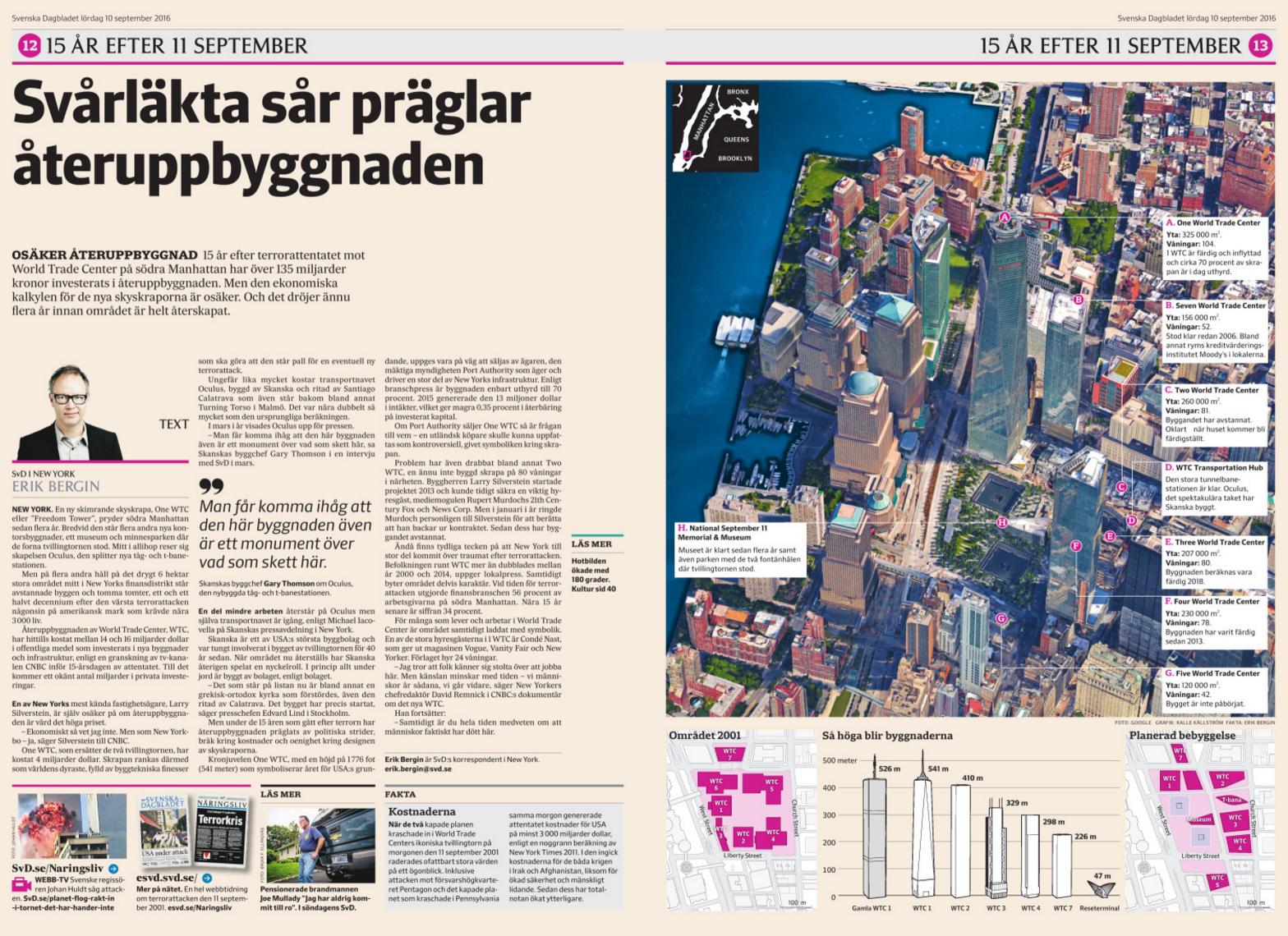 Uppslaget om återuppbyggnaden i SvD Näringsliv lördag 10/9.
