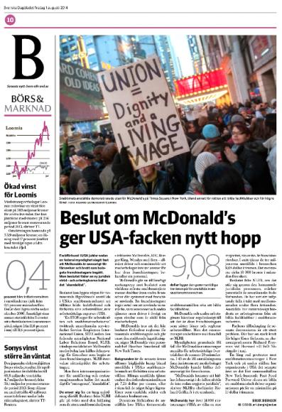 McDonald's-artikeln i SvD Näringsliv den 1 augusti 2014.