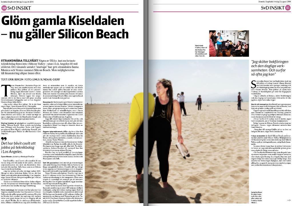 Första uppslaget om Silicon Beach i SvD Näringsliv.