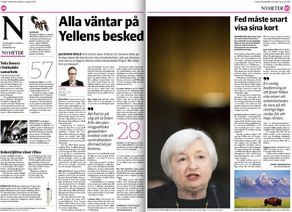 SvD Näringsliv torsdag den 21 augusti 2014, sid 4-5.