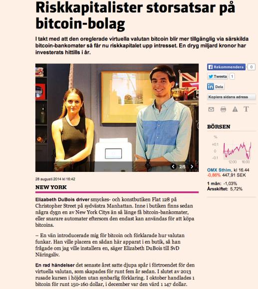 Text och bilder om bitcoin-bankomaten i en smyckesbutik i New York.
