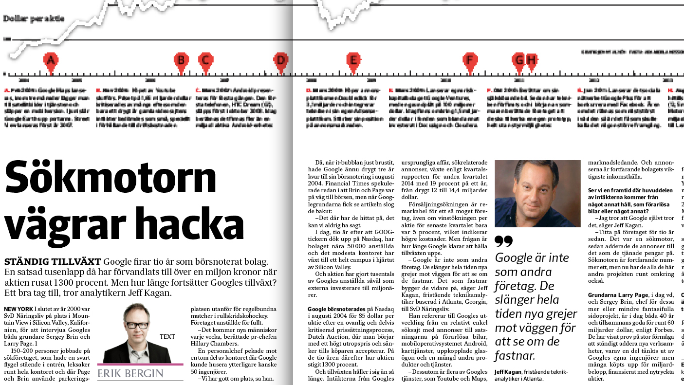 Artikeln i SvD Näringsliv om Googles tioårsjubiléum som börsbolag.