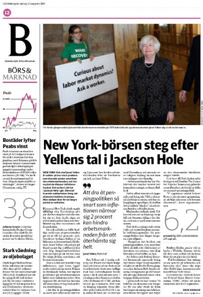 Sidan med Yellen-artikeln på Börs & Marknad, SvD Näringsliv.