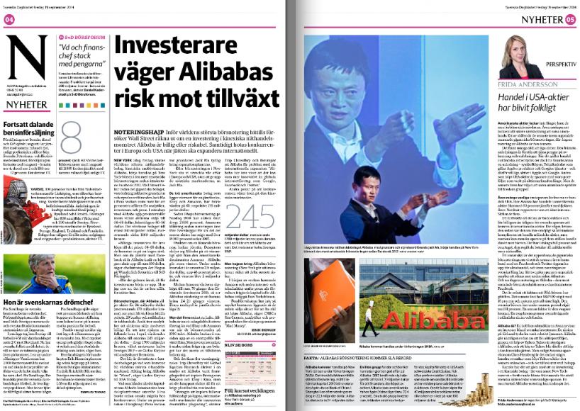 Inför Alibabas börsnotering fredag 19 september.