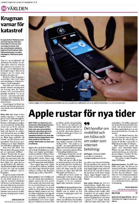 Sid 8 i SvD Näringsliv onsdagen den 10 september 2014.